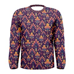 Abstract Background Floral Pattern Men s Long Sleeve Tee