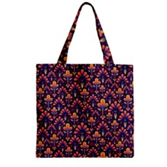 Abstract Background Floral Pattern Zipper Grocery Tote Bag