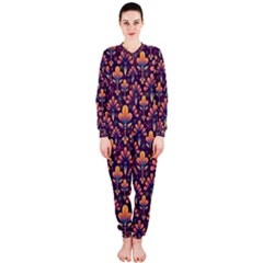 Abstract Background Floral Pattern OnePiece Jumpsuit (Ladies)