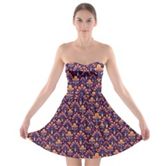 Abstract Background Floral Pattern Strapless Bra Top Dress