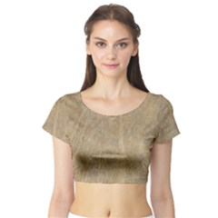 Abstract Forest Trees Age Aging Short Sleeve Crop Top (Tight Fit)