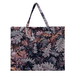 Leaf Leaves Autumn Fall Brown Zipper Large Tote Bag