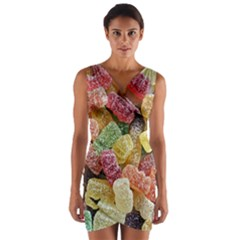 Jelly Beans Candy Sour Sweet Wrap Front Bodycon Dress