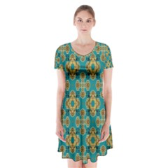 Vintage Pattern Unique Elegant Short Sleeve V-neck Flare Dress