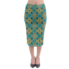 Vintage Pattern Unique Elegant Midi Pencil Skirt
