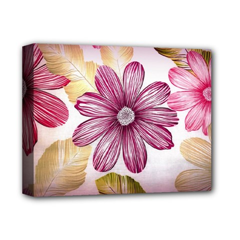 Flower Print Fabric Pattern Texture Deluxe Canvas 14  x 11