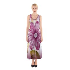 Flower Print Fabric Pattern Texture Sleeveless Maxi Dress