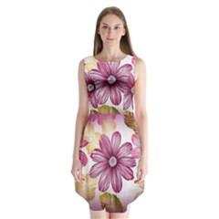 Flower Print Fabric Pattern Texture Sleeveless Chiffon Dress
