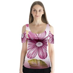 Flower Print Fabric Pattern Texture Butterfly Sleeve Cutout Tee