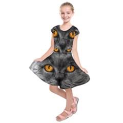 Cat Eyes Background Image Hypnosis Kids  Short Sleeve Dress
