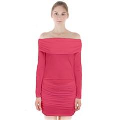 Neon Color   Brilliant Amaranth Long Sleeve Off Shoulder Dress