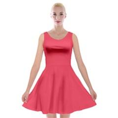 Neon Color   Brilliant Amaranth Velvet Skater Dress