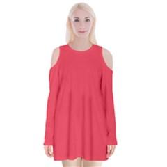Neon Color   Brilliant Amaranth Velvet Long Sleeve Shoulder Cutout Dress
