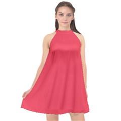 Neon Color   Brilliant Amaranth Halter Neckline Chiffon Dress