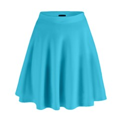 Neon Color   Brilliant Arctic Blue High Waist Skirt