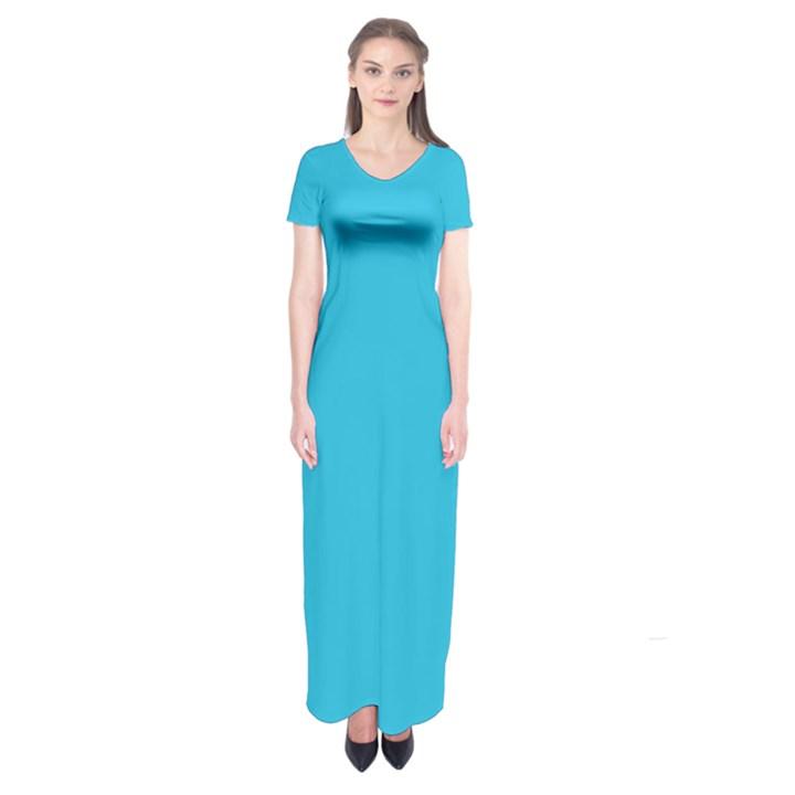 Neon Color - Brilliant Arctic Blue Short Sleeve Maxi Dress