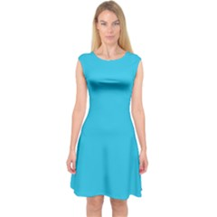 Neon Color   Brilliant Arctic Blue Capsleeve Midi Dress