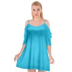 Neon Color   Brilliant Arctic Blue Cutout Spaghetti Strap Chiffon Dress