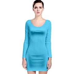 Neon Color - Brilliant Cerulean Long Sleeve Bodycon Dress