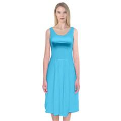 Neon Color   Brilliant Cerulean Midi Sleeveless Dress