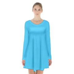 Neon Color   Brilliant Cerulean Long Sleeve Velvet V Neck Dress