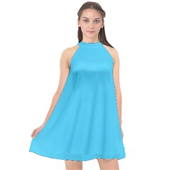 Neon Color   Brilliant Cerulean Halter Neckline Chiffon Dress