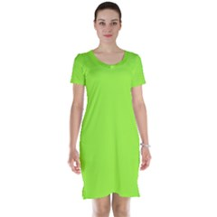 Neon Color - Brilliant Charteuse Green Short Sleeve Nightdress