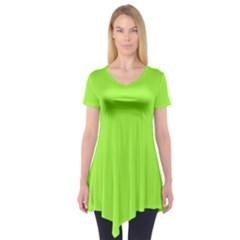 Neon Color - Brilliant Charteuse Green Short Sleeve Tunic