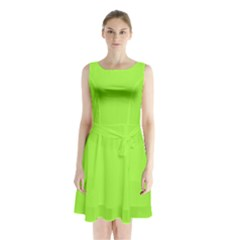 Neon Color   Brilliant Charteuse Green Sleeveless Waist Tie Chiffon Dress
