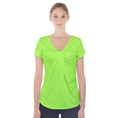 Neon Color   Brilliant Charteuse Green Short Sleeve Front Detail Top