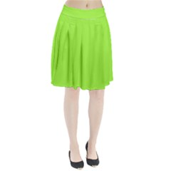 Neon Color   Brilliant Charteuse Green Pleated Skirt