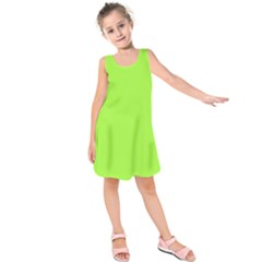 Neon Color   Brilliant Charteuse Green Kids  Sleeveless Dress
