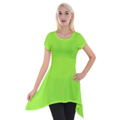 Neon Color   Brilliant Charteuse Green Short Sleeve Side Drop Tunic