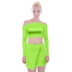 Neon Color   Brilliant Charteuse Green Off Shoulder Top With Skirt Set