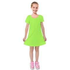 Neon Color   Brilliant Charteuse Green Kids  Short Sleeve Velvet Dress