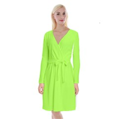 Neon Color   Brilliant Charteuse Green Long Sleeve Velvet Front Wrap Dress