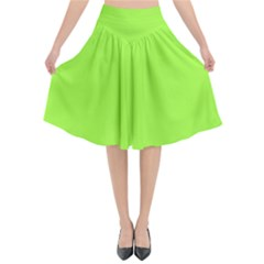 Neon Color   Brilliant Charteuse Green Flared Midi Skirt