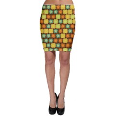 Random Hibiscus Pattern Bodycon Skirt