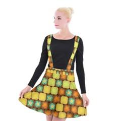 Random Hibiscus Pattern Suspender Skater Skirt