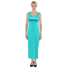 Neon Color - Brilliant Cyan Fitted Maxi Dress