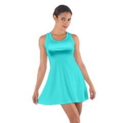 Neon Color - Brilliant Cyan Cotton Racerback Dress