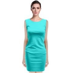 Neon Color   Brilliant Cyan Classic Sleeveless Midi Dress