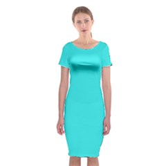 Neon Color   Brilliant Cyan Classic Short Sleeve Midi Dress