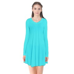 Neon Color   Brilliant Cyan Flare Dress