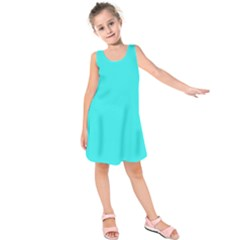 Neon Color   Brilliant Cyan Kids  Sleeveless Dress