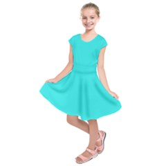 Neon Color   Brilliant Cyan Kids  Short Sleeve Dress