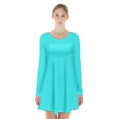 Neon Color   Brilliant Cyan Long Sleeve Velvet V Neck Dress