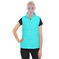 Neon Color   Brilliant Cyan Women s Button Up Puffer Vest