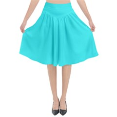 Neon Color   Brilliant Cyan Flared Midi Skirt