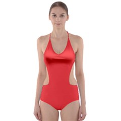 Neon Color - Brilliant Red Cut-Out One Piece Swimsuit